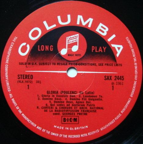 UK COLUMBIA SAX SEMI-CIRCLE / PRETRE, - Poulenc Gloria, Concerto for Organ, MINT!