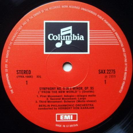 UK COLUMBIA SAX P-STAMP / KARAJAN, - Dvorak New Worlds Symphony, NM!