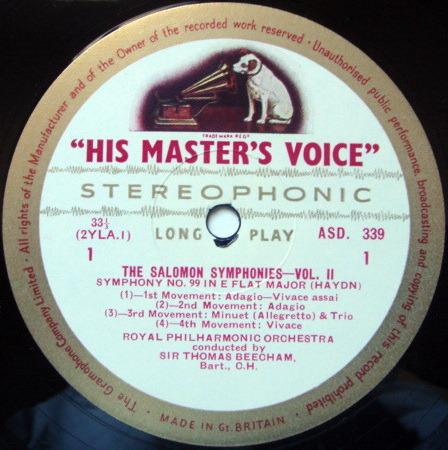 ★1st Press★ EMI ASD WHITE & GOLD / BEECHAM, - Haydn Salomon Symphonies No.7 & 8, NM!