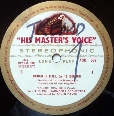 ★1st Press★ EMI ASD WHITE & GOLD / MENUHIN-DAVIS, - Berlioz Harold in Italy, NM!