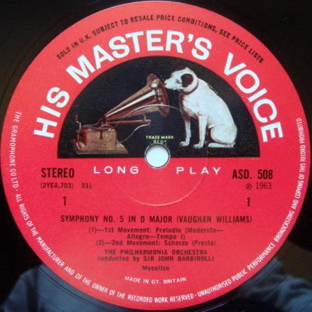 EMI ASD SEMI-CIRCLE / BARBIROLLI, - Vaughan Williams Symphony No.5, NM!