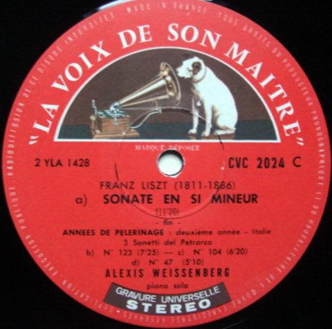 FRENCH EMI ASD SEMI-CIRCLE / WEISSENBERG, - Liszt Piano Sonata, VG!