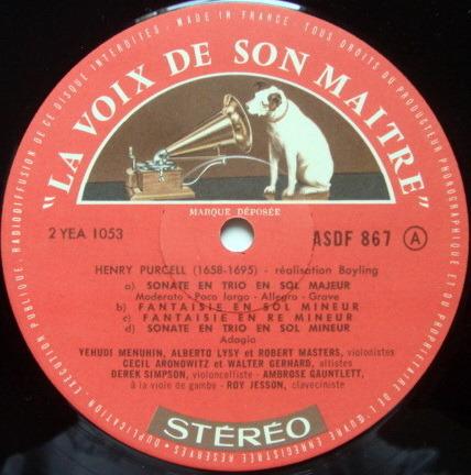 FRENCH EMI ASD SEMI-CIRCLE / MENUHIN, - Purcell Anthology Album I, NM!