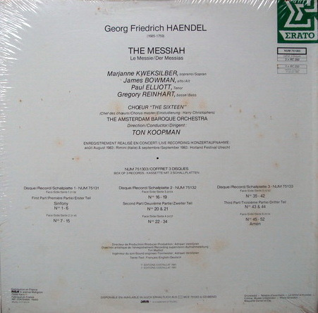 ★Sealed Audiophile★ Erato / KOOPMAN, - Handel Messiah, 3LP Box Set!