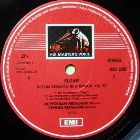 EMI ASD STAMP-DOG / MENUHIN, - Elgar-Williams Violin Sonatas, MINT!