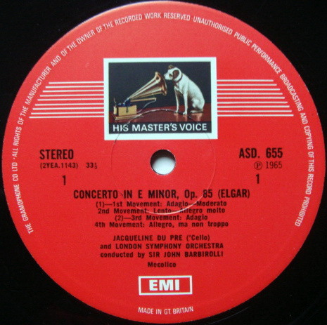 EMI ASD STAMP-DOG / DU PRE-BARBIROLLI, - Elgar Cello Concerto , NM!