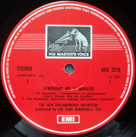 EMI ASD STAMP-DOG / BARBIROLLI-BAKER, - Mahler Symphony No.5, MINT, 2LP Box Set!
