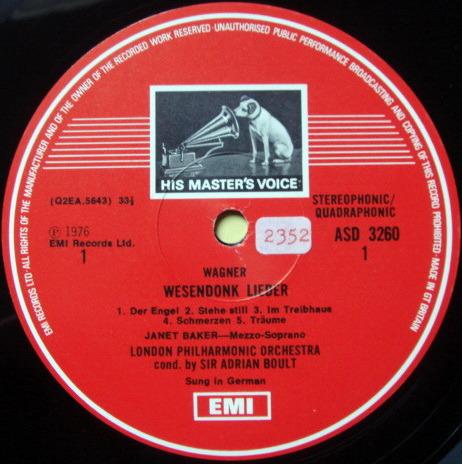 EMI ASD STAMP-DOG / JANET BAKER-BOULT, - Brahms Alto Rhapsody, MINT!