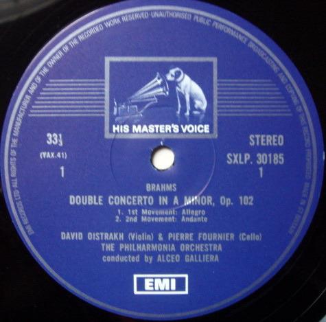 EMI HMV STAMP-DOG / OISTRAKH-FOURNIER, - Brahms Double Concerto, MINT!