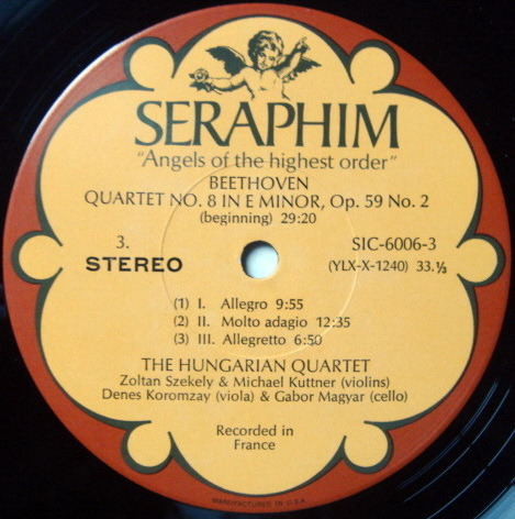 EMI Angel Seraphim / HUNGARIAN QT, - Beethoven The Middle Quartets, MINT, 3LP Box Set!