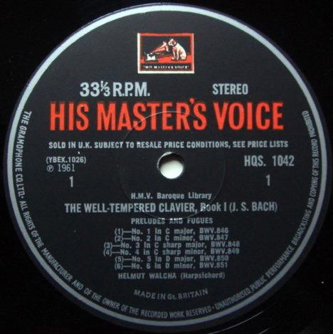 EMI HMV HQS / WALCHA, - Bach Well-Tempered Clavier Book1, NM!