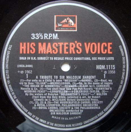EMI HMV HQM /  - A Tribute to Sir Malcolm Sargent, NM-!