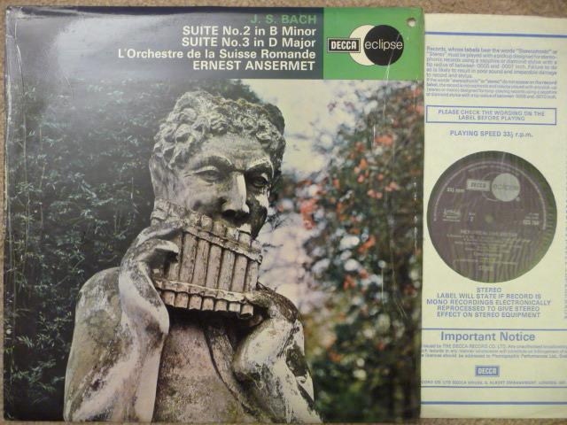 J S BACH  SUITE NO.2 AND 3 - ERNEST ANSERMET DECCA LP EXCELLENT