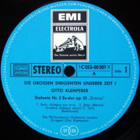 EMI HMV / KLEMPERER, - Beethoven Symphony No.3 Eroica, MINT!