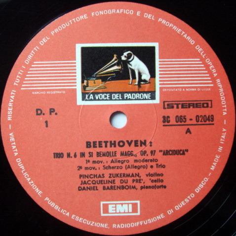 EMI HMV / DU PRE-ZUKERMAN-BARENBOIM, - Beethoven Archduke Trio, MINT!