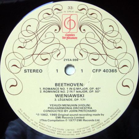 EMI CFP / MENUHIN-PRITCHARD, - Beethoven Romances No.1 & 2, MINT!