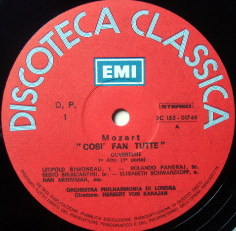 EMI ODEON / KARAJAN-SCHWARZKOPF, - Mozart Cosi Fan Tutte, MINT, 3LP Box Set!
