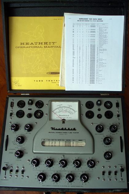Heathkit TT-1 rebuilt, calibrated mutual conductance tube tester