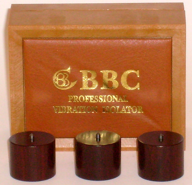 BBC Zitan Wood Isolation Bases with Tungsten Carbide Spikes, used set of 3