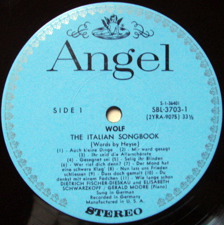 EMI Angel Blue / SCHWARZKOPF, - Wolf Italian Song Book,  MINT, 2LP Box Set!