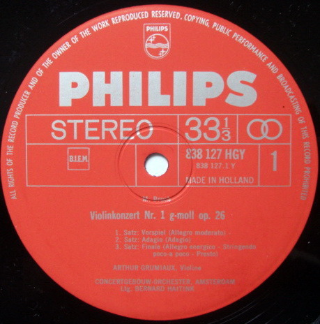 Philips / GRUMIAUX-HAITINK, - Bruch Violin Concertos No.1, MINT!