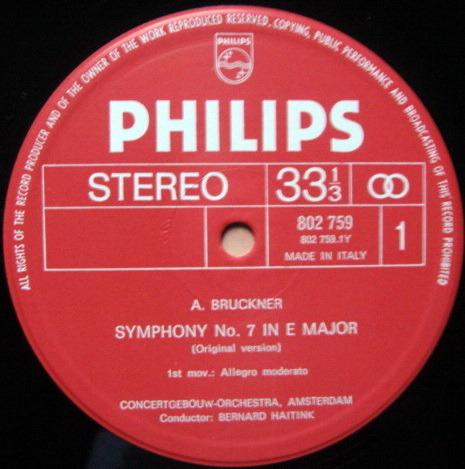 Philips / HAITINK, - Bruckner Symphony No.7, Te Deum, MINT, 2 LP Set!