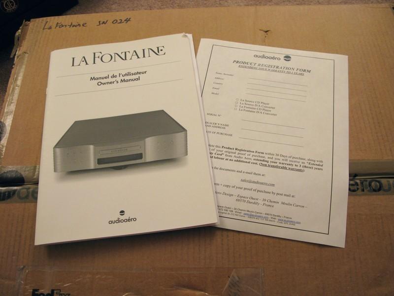Audio Aero La Fontaine Music Player NEW! Preamp/DAC/USB Dac