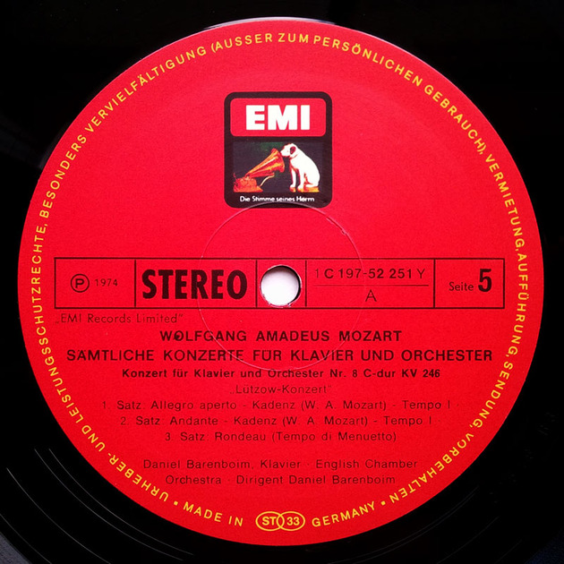 EMI HMV/Barenboim/Mozart - The Complete 27 Piano Concertos / 12-LP Box Set / NM