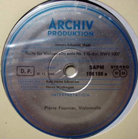 ★1st Press★ Archiv / FOURNIER, - Bach Suites for Cello Solo No.1 & 2, MINT!