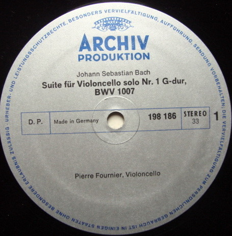Archiv / FOURNIER, - Bach Suites for Cello Solo No.1 & 2, MINT!