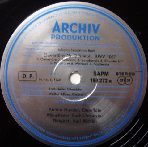 ★1st Press★ Archiv / RICHTER, - Bach Overtures No.2 & 3,  MINT!