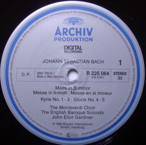 Archiv Digital / GARDINER, - Bach Mass in B Minor, MINT, 2LP Box Set!