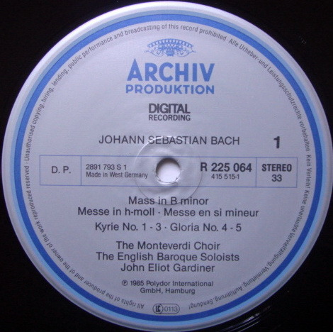 Archiv Digital / GARDINER, - Bach Mass in B Minor, MINT, 2LP Box Set!
