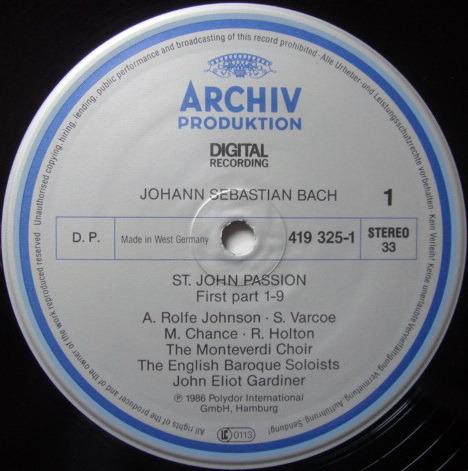 Archiv Digital / GARDINER, - Bach St. John Passion, MINT, 2LP Box Set!