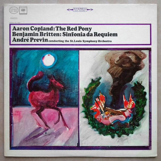 Columbia 2-eye/Previn/Britten - Sinfonia da Requiem, Copland: The Red Pony / EX