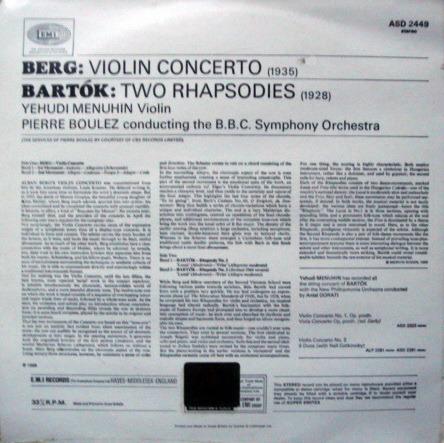 ★Sealed★ UK EMI ASD / MENUHIN-BOULEZ, - Berg Violin Concerto, Bartok Two Rhapsodies!