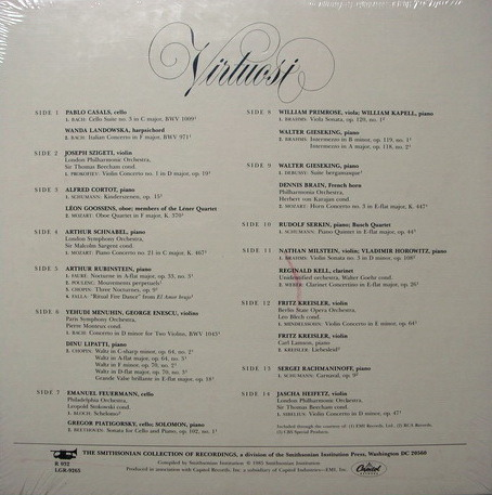 ★Sealed★ Capitol / CASALS-SZIGETI-CORTOT-MILSTEIN, - Virtuosi, 7LP Box Set!