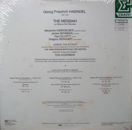 ★Sealed Audiophile★ Erato / KOOPMAN, - Handel Messiah, 3LP Box Set!