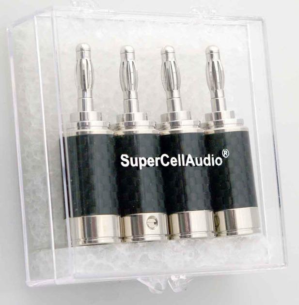 SuperCellAudio ® Rhodium Banana Plugs set of 4 Cat#400.006-4