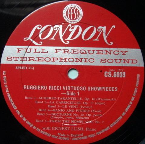 ★1st Press★ LONDON-DECCA FFSS-WB-BB / RUGGIERO RICCI, - Virtuoso Show Pieces, VG~VG+!