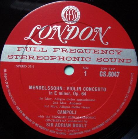 ★1st Press★ LONDON-DECCA FFSS-WB-BB / CAMPOLI, - Mendelssohn-Bruch s Violin Concertos, NM!