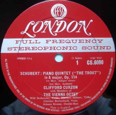 ★1st Press★ LONDON-DECCA FFSS-WB-BB / CURZON-VIENNA OCT, - Schubert Trout Quintet EX!