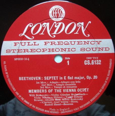 ★1st Press★ LONDON-DECCA FFSS-WB-BB / VIENNA OCTET, - Beethoven Septet in E-Flat, NM!