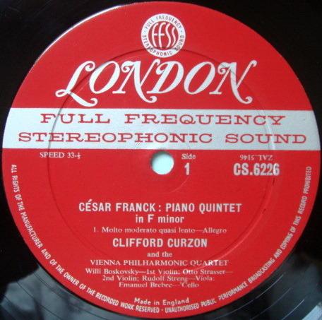 ★1st Press★ LONDON-DECCA FFSS-WB-BB / CURZON-VIENNA OCTET, - Franck Piano Quintet in F Minor, NM!