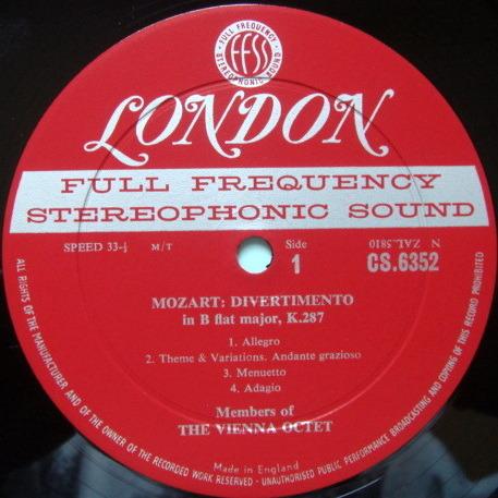 ★1st Press★ LONDON-DECCA FFSS-WB-BB / VIENNA OCTET, - Mozart-Haydn Divertimentos, NM!
