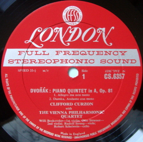 ★1st Press★ LONDON-DECCA FFSS-WB-BB / CURZON-VIENNA OCTET, - Dvorak Quintet in A, NM!