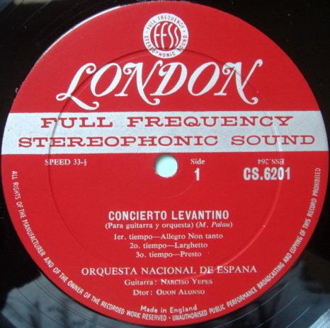 ★1st Press★ LONDON-DECCA FFSS-WB-BB / NARCISO YEPES, - Vivaldi Guitar Concerto, Bach Chaconne, NM!