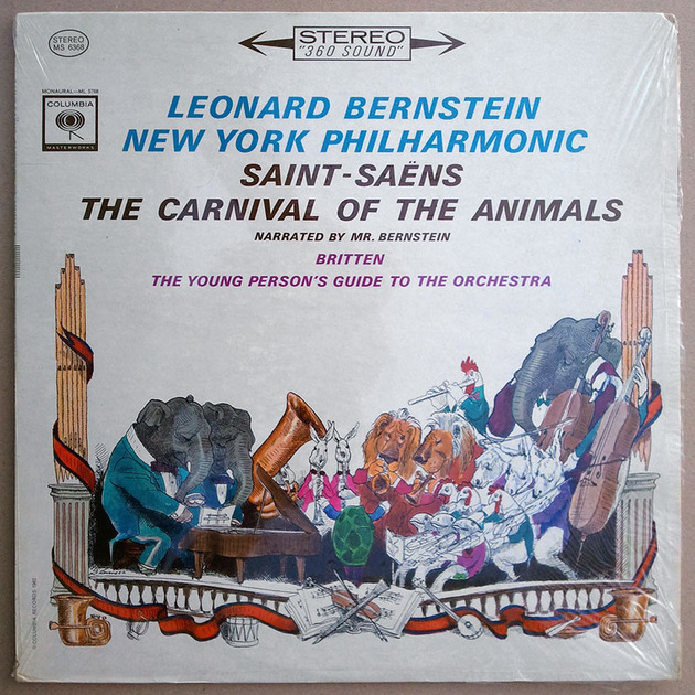 COLUMBIA 2-EYE/Bernstein/SAINT-SEANS - The Carnival of the Animals,  BRITTEN The Young Person's Guide to the Orchestra