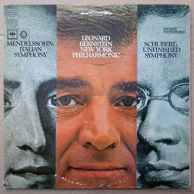 COLUMBIA 2-EYE/Bernstein/SCHUBERT - Unfinished, MENDELSSOHN Italian Symphony / VG+