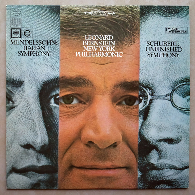 COLUMBIA 2-EYE/Bernstein/SCHUBERT - Unfinished, MENDELSSOHN Italian Symphony / EX